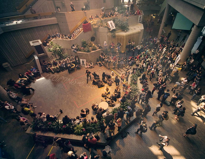 Students occupy UQAM's main pavilion during the student strike of 2012